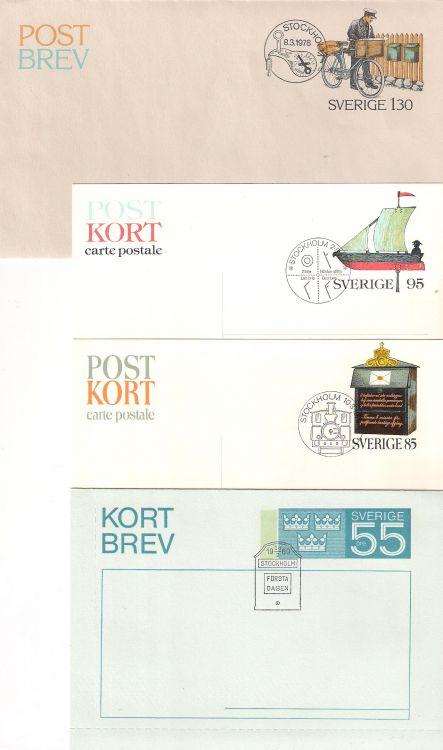 Post-kort och -brev samt Kortbrev, sammanlagt 8 st