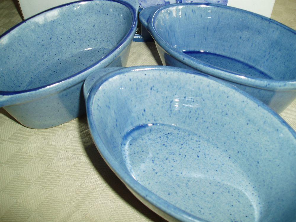6 blå keramikskålar/baljor