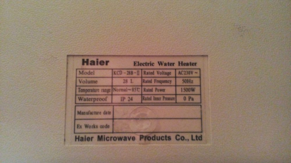 Varmvattenberedare Haier 28 liter