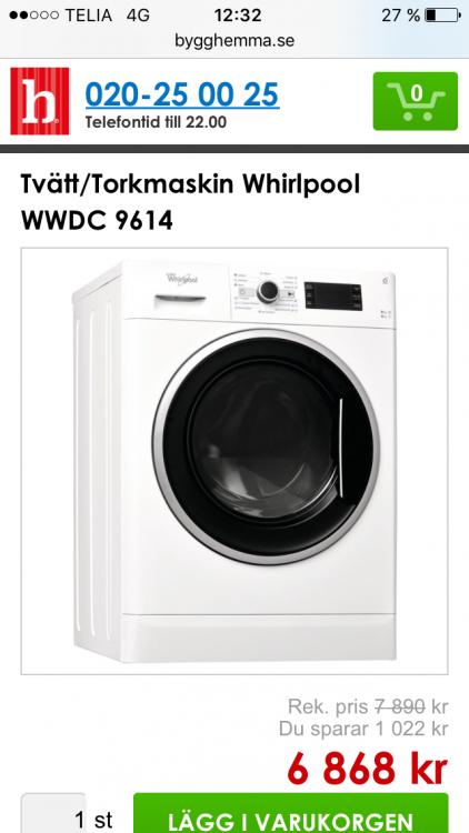 Whirpool WWDC 9614 tvätt/tork