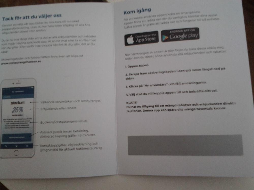 Kodkort till Appen Restaurangchansen Karlstad