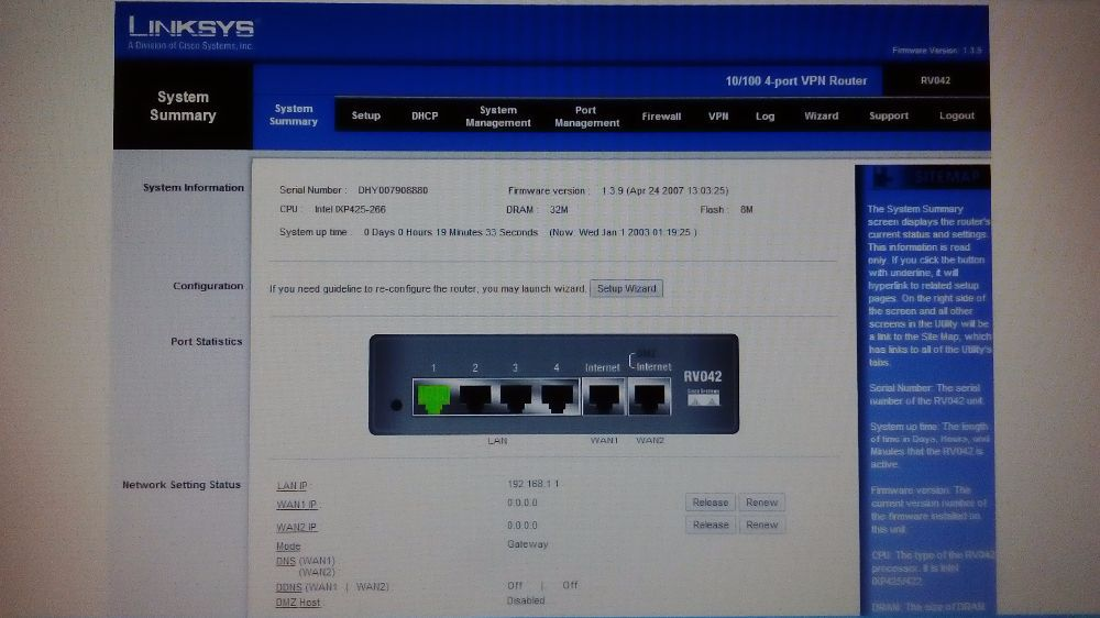 Linksys RV042, vpn router.
