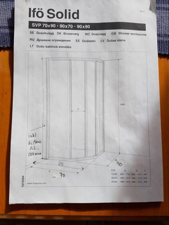 IFÖ Solid Duschvägg 80x90 alt. 70x100