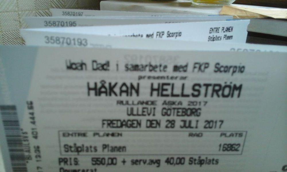 Håkan Hellström Ullevi Göteborg fredag 28/7 Ståplats och Sittplatsbiljetter