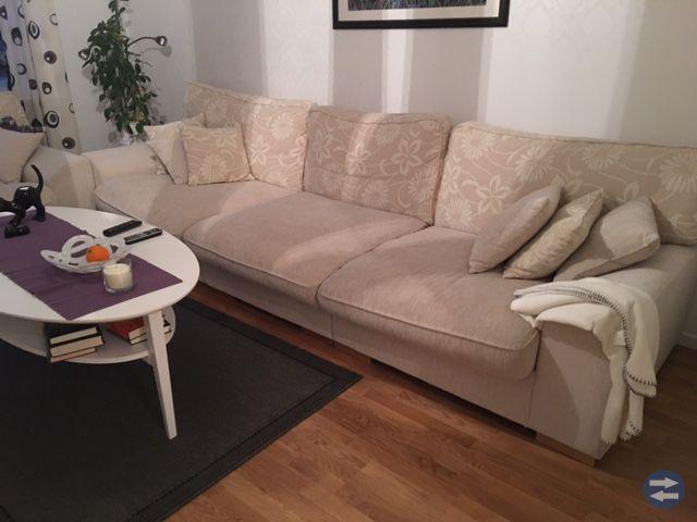 Soffa, fåtölj och soffbord