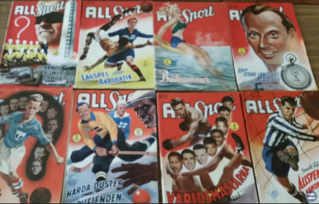 15 inplastade sporttidningar 50 talet allsport