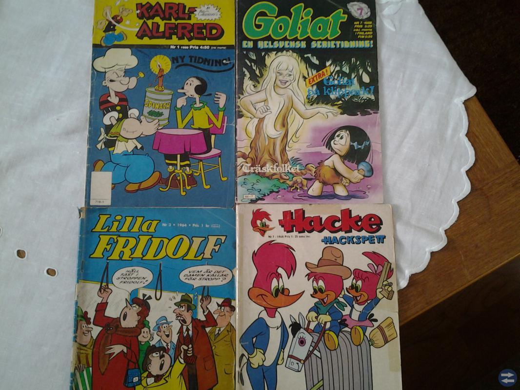 Serietidningar 2 från 1964, 1 från 1980 och en frå