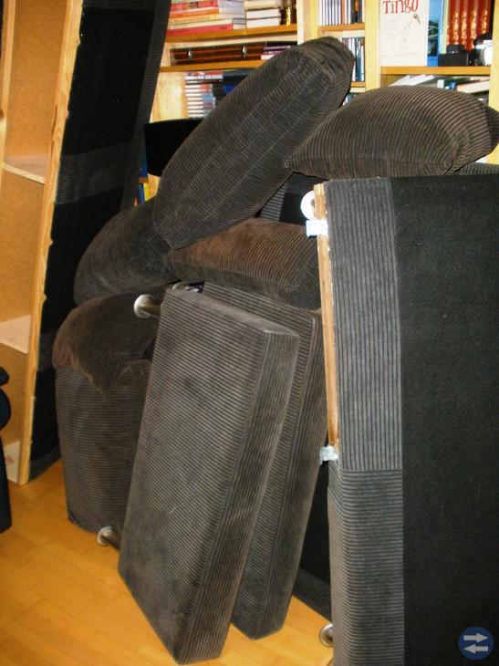 3-sits Soffa i brunt tyg