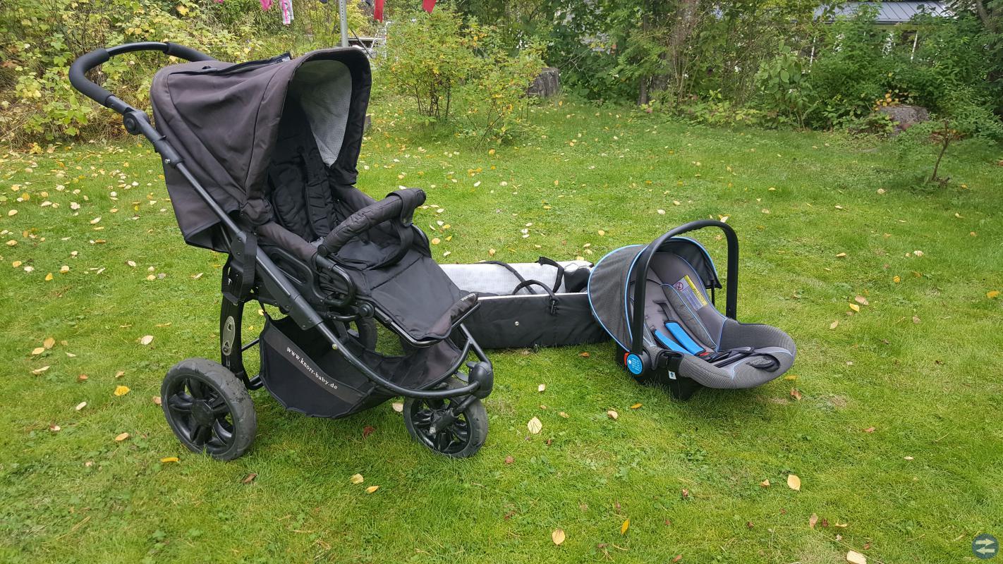 Knorr Sitt/Liggvagn + Babyskydd.