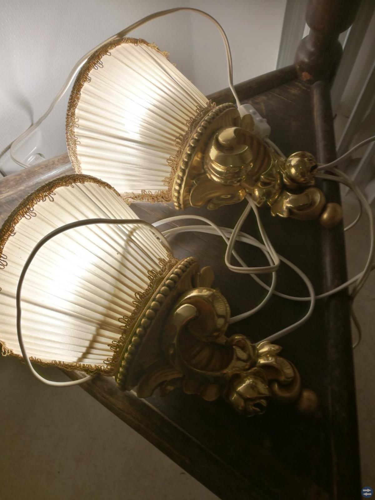 Vägglampetter 1par, förgylld/bronserad, Höjd: 29cm