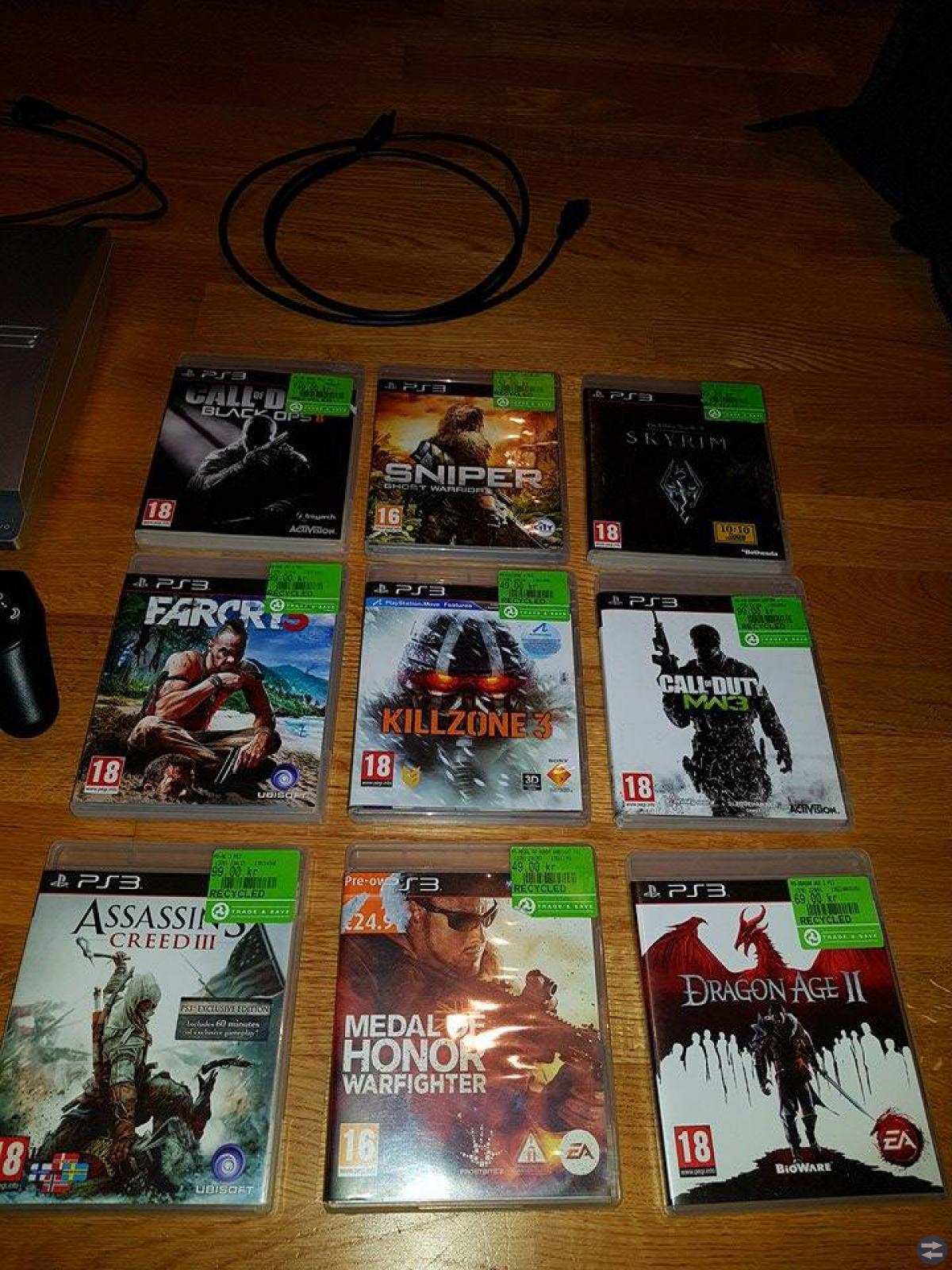 PS3 ink. headset, 2 kontroller + 9 spel