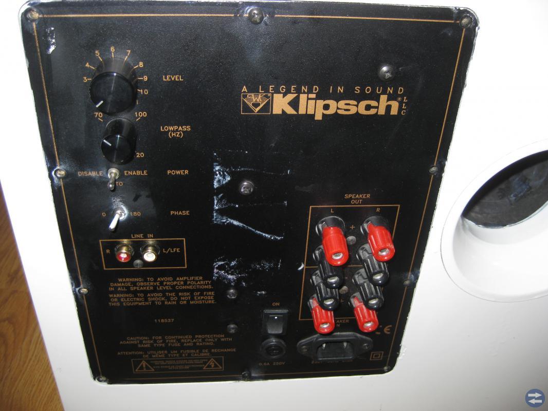 KLIPSCH KSW12B SUBWOOFER&5ST HÖG (OBS: REP OBJEKT)