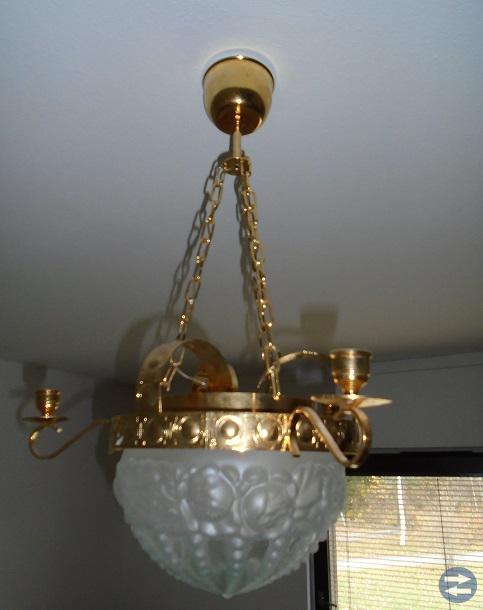 Trearmad golvlampa från 1940-1950-talet + taklampa