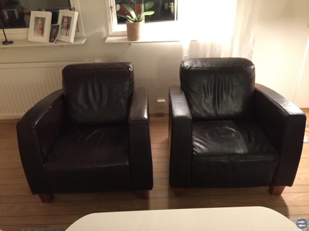 3 pers soffa & 2x fåtöljer i läder.