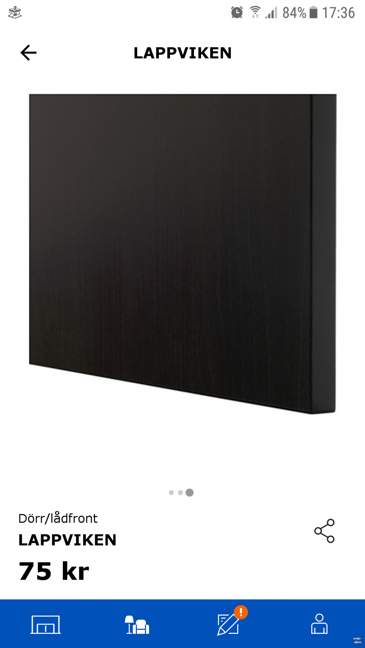 Dörr/lådfront LAPPVIKEN svartbrun