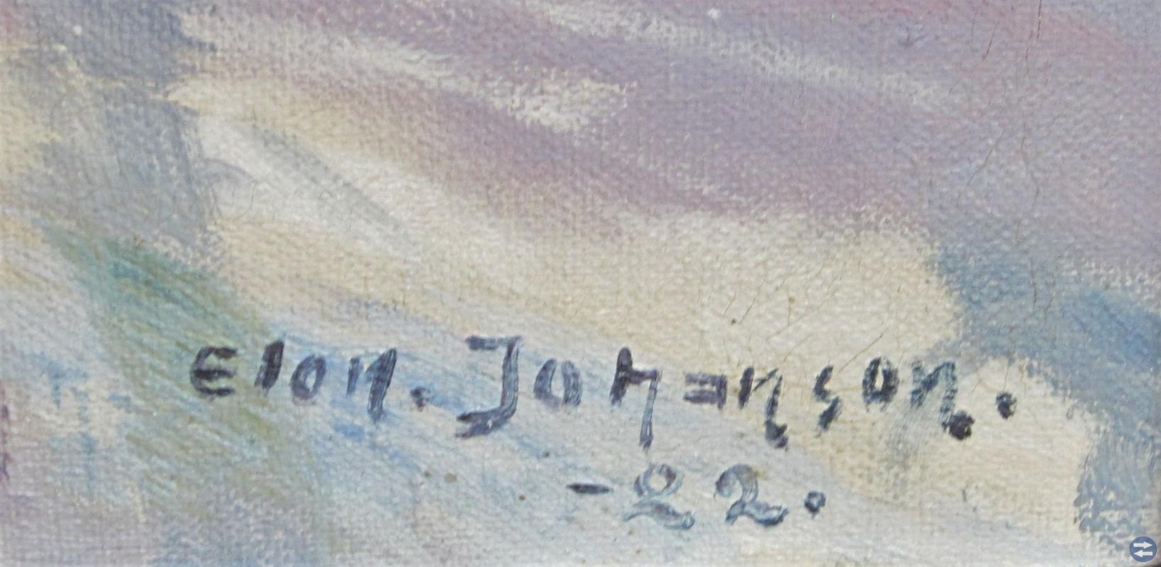 Elon Johanson :Solbelyst vinterlandskap år 1922