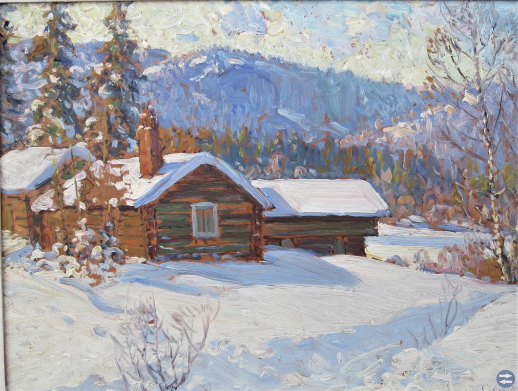 Ivan Constantin Solbelyst vinterlandskap Dalarna