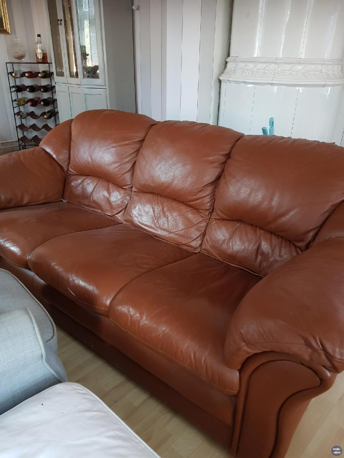 Äkta kalvskinn soffa 3sits med 2 fåtöljer