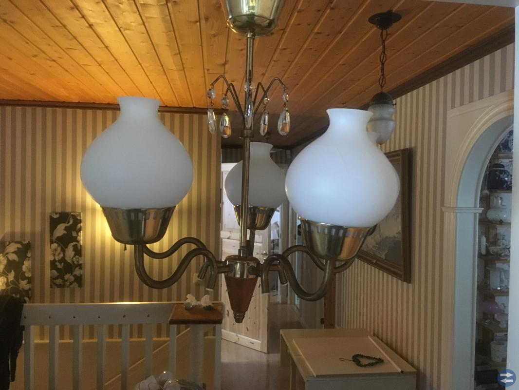 Vacker 5 armad taklampa från 50-60 talet