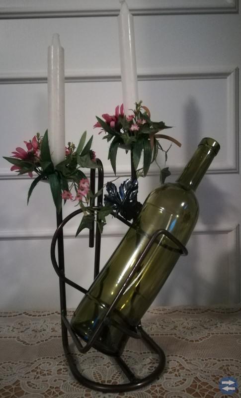 Ljusstakar av smidesjärn -  med flaskhållare