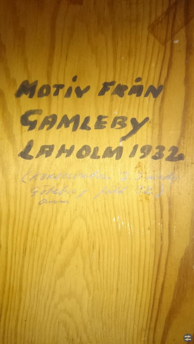Oljemålning med motiv av Laholms kyrka från 1932