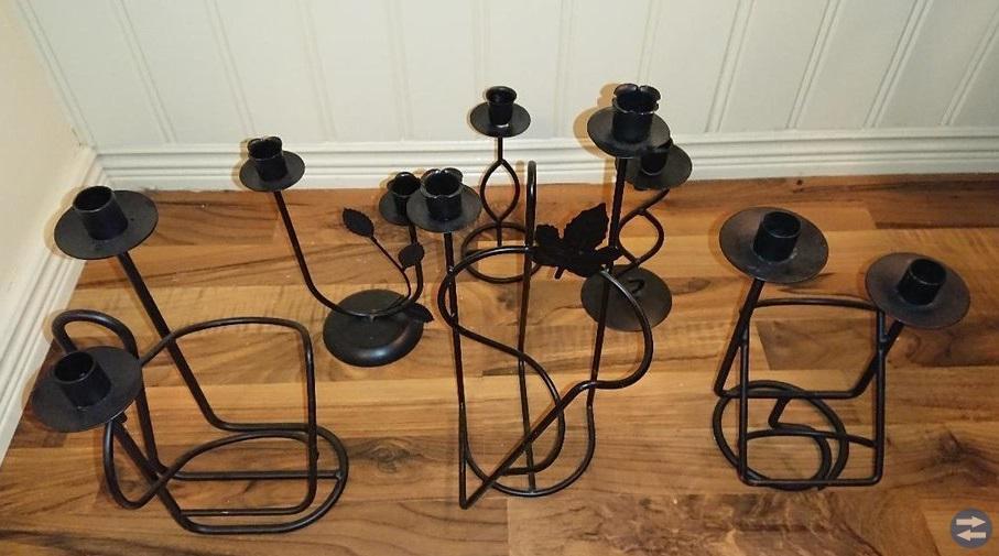 6 st ljusstakar/vinhållare.svart.