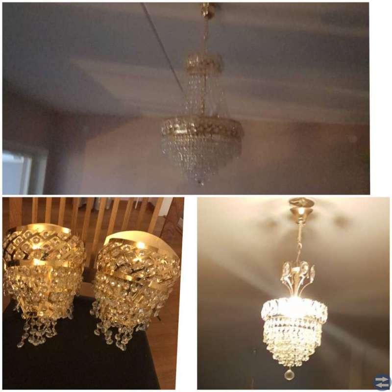 Kristall taklampor och vägglampor