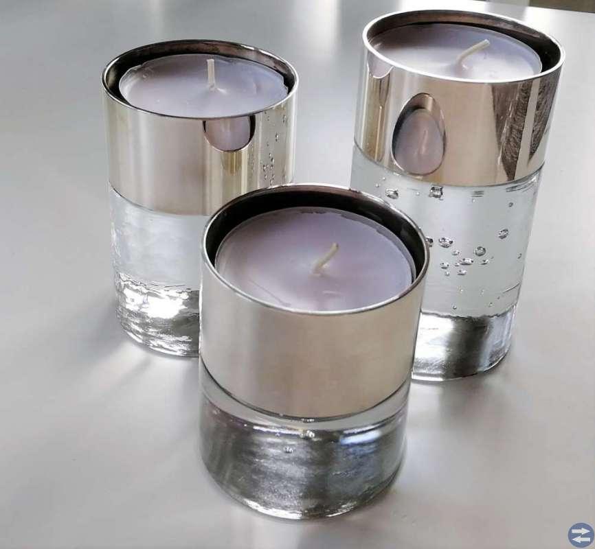 Ljuslyktor i glas och silver (i Kalmar)