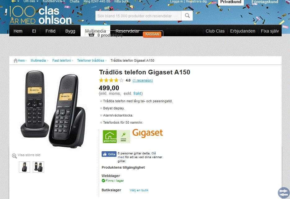 Trådlös telefon Gigaset A150 Duo