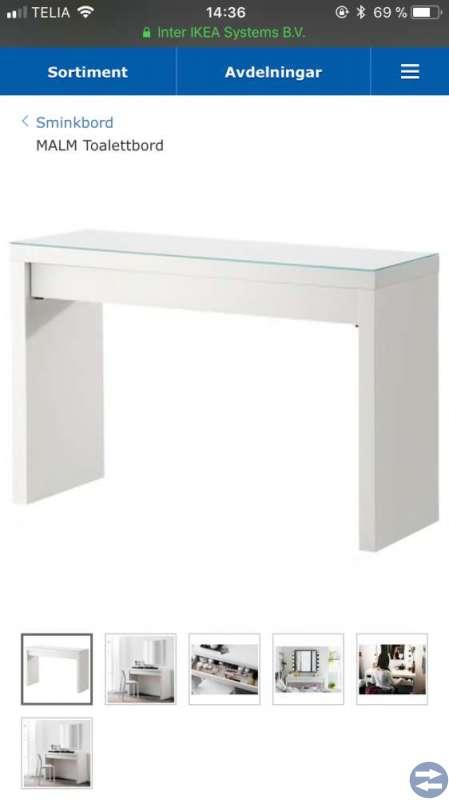 Sminkbord, spegel, sängbord