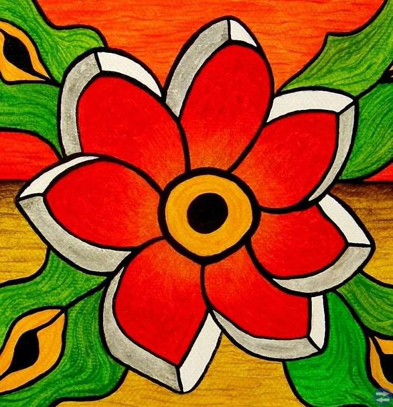 Abstrakt Blomma - Liten oljemålning