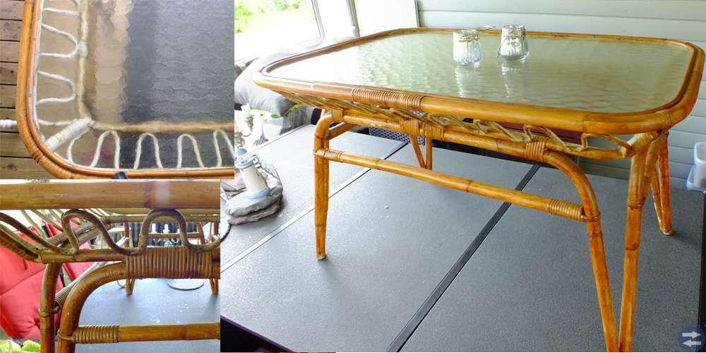 Rottingbord med glasskiva 100 cm