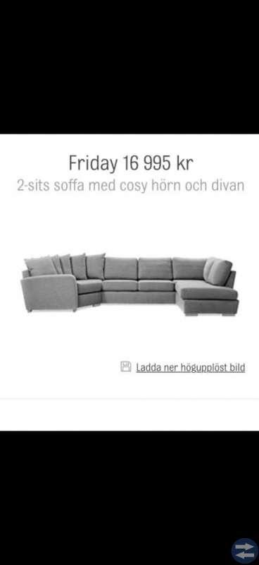 Stor 2-sits soffa med cosyhörn och divan