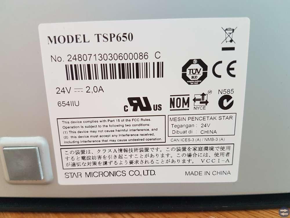 Kvittoskrivare Star TSP654IIU Lan Ethernet
