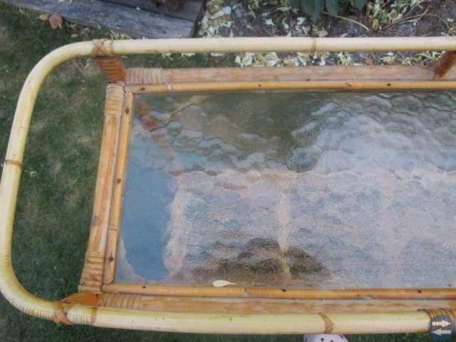 Blombord i rotting med glasskiva -50-tal