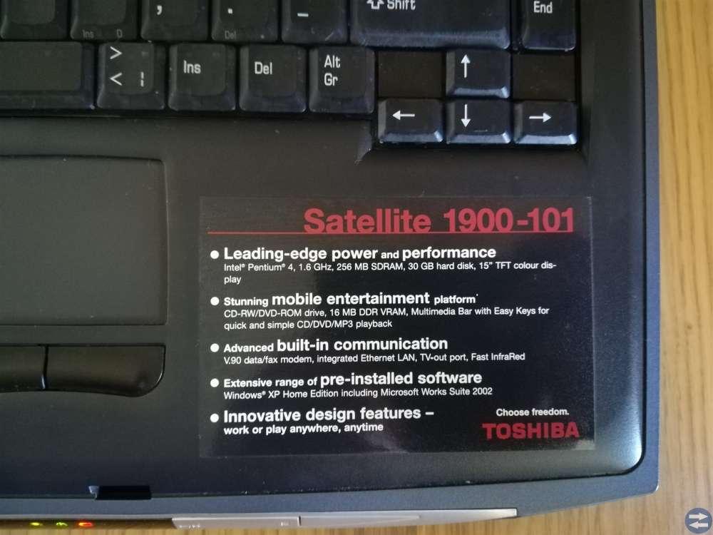 Toshiba Satellite 1900 - 101 med Windows XP Pro