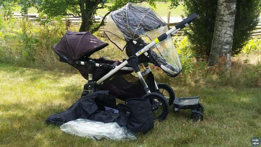 Syskonvagn, bärryggsäckar, resesäng