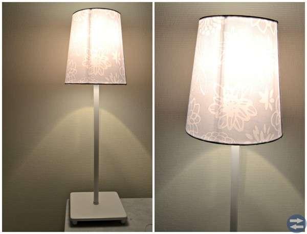 Stor lampskärm fr Ikea vit med mönster