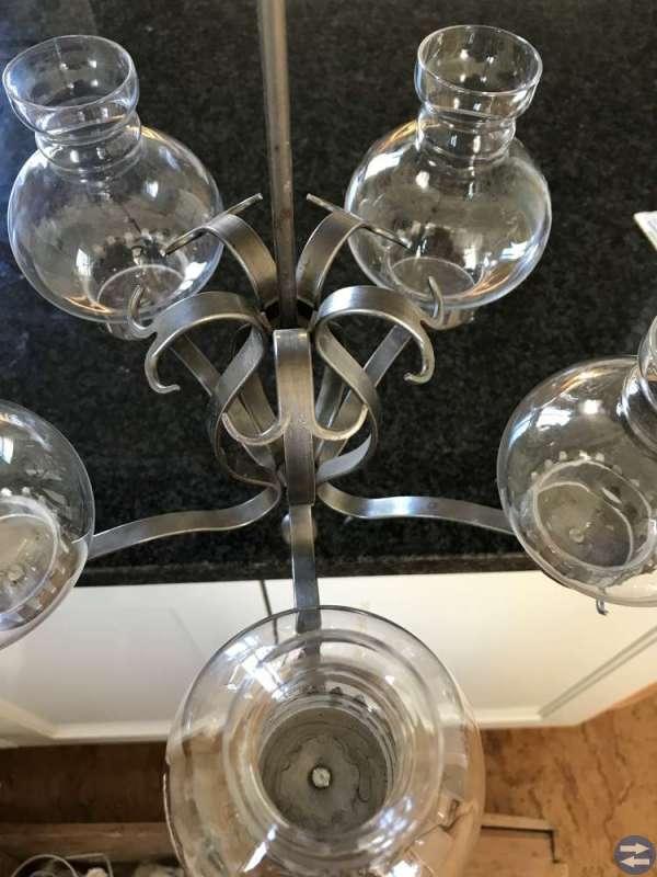 Smideskrona med glaskupor - från Gnosjö