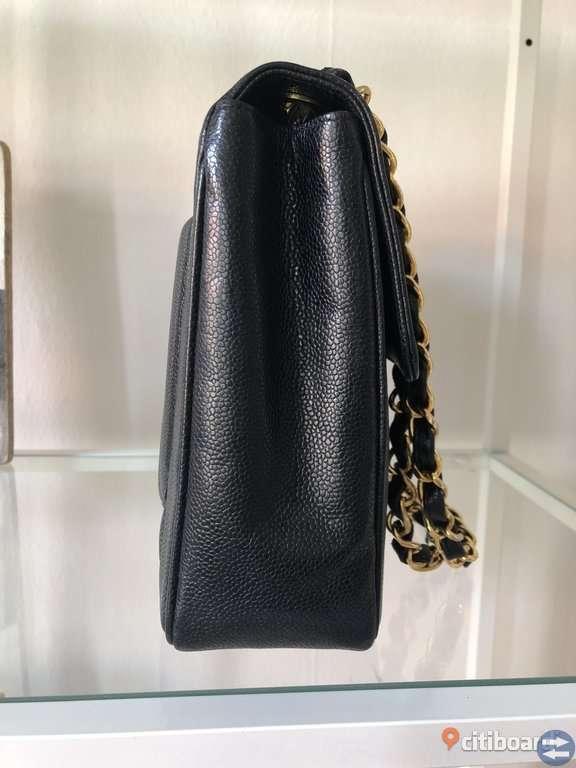 Chanel Vintage Jumbo Vertical Caviar Läder Flap bag XL