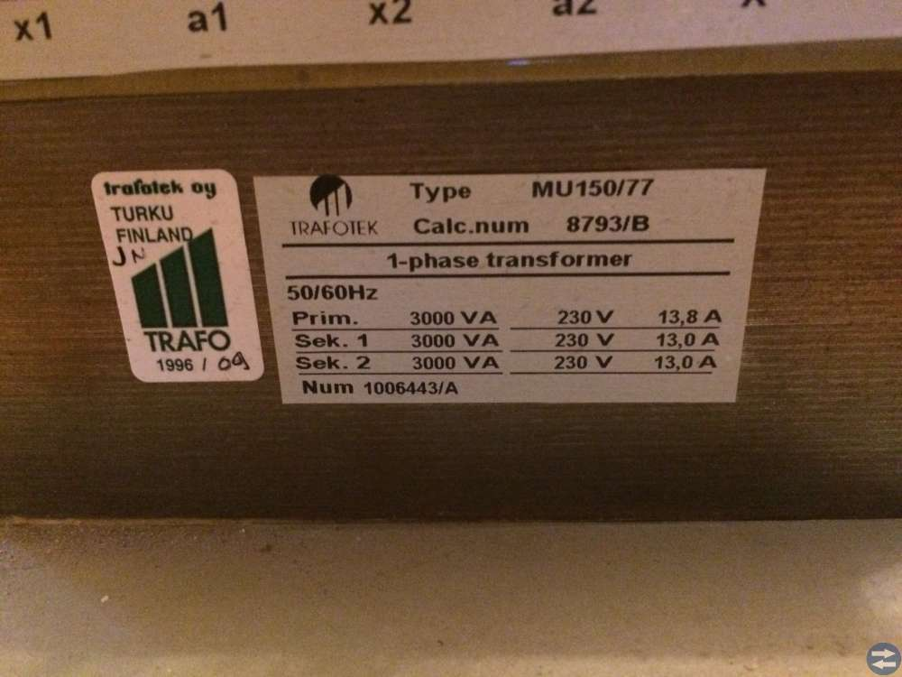 Transformator 1-fas fulltrafo 230-230 Volt 3 kVA