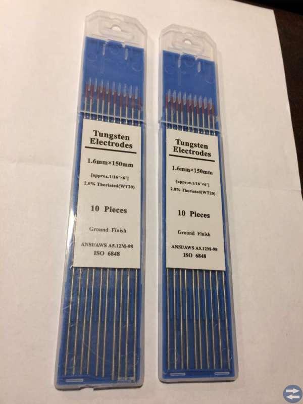 Wolframelektroder WT20 20 stycken 1,6x150 mm