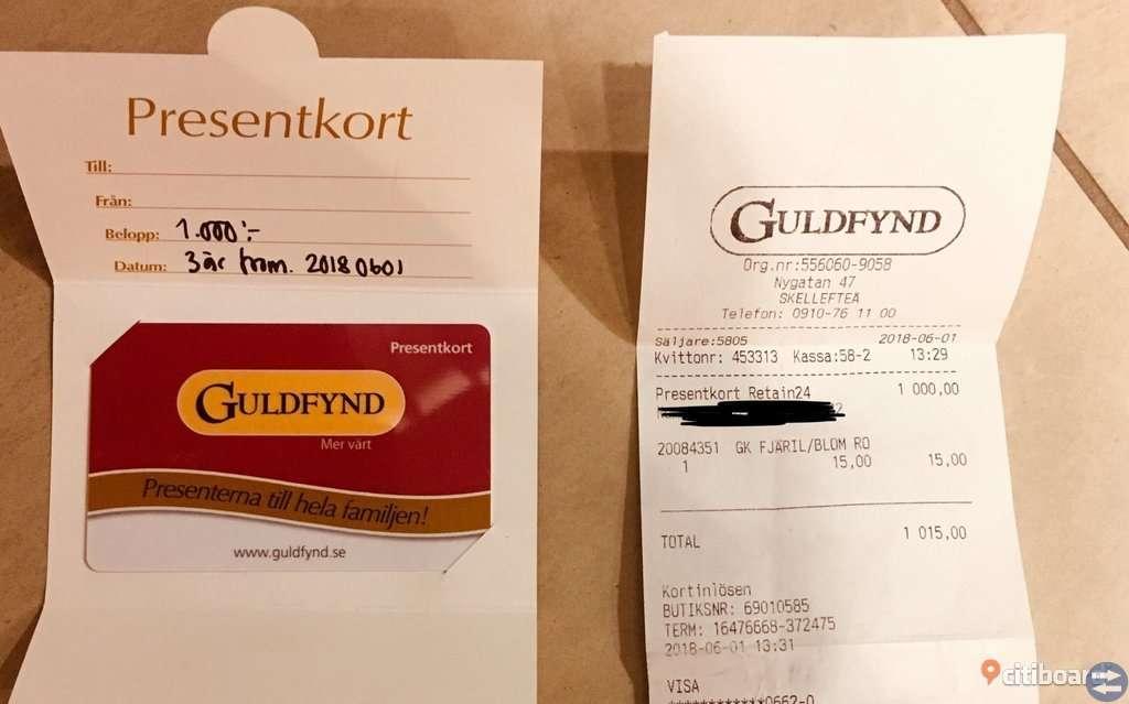 Presentkort på guldfynd värd 1000 kr.