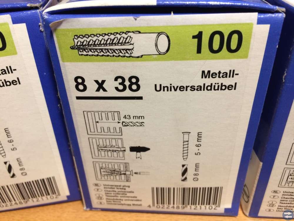 Metallankare Hufner 8x38 3 kartonger totalt 300 st