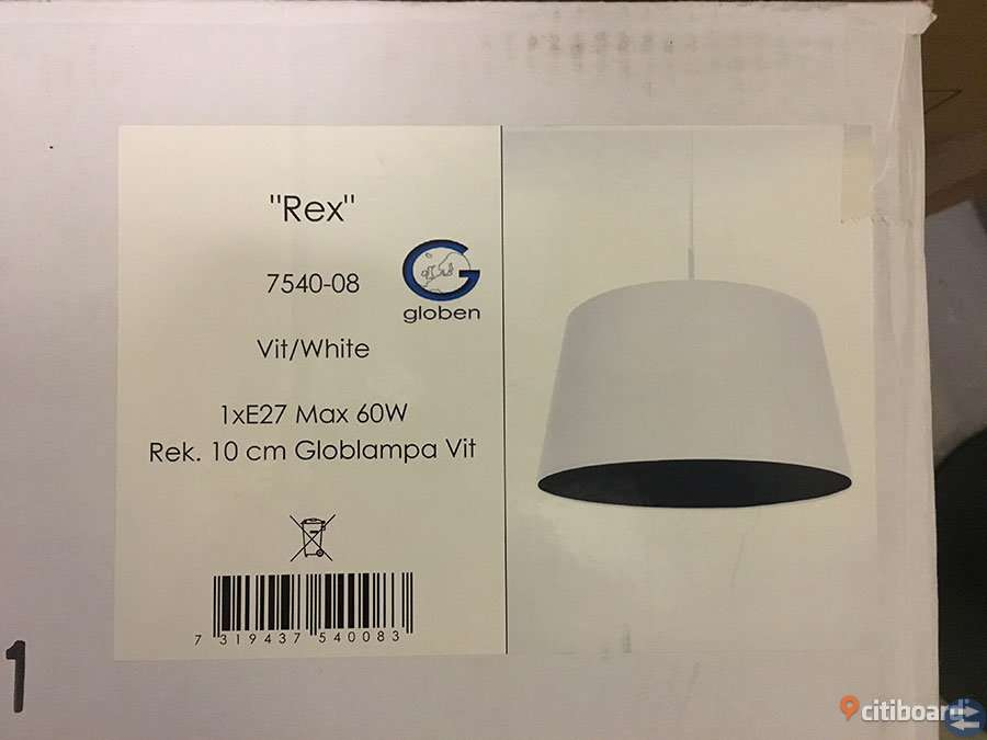 Vit designlampa, D: ca 45 cm