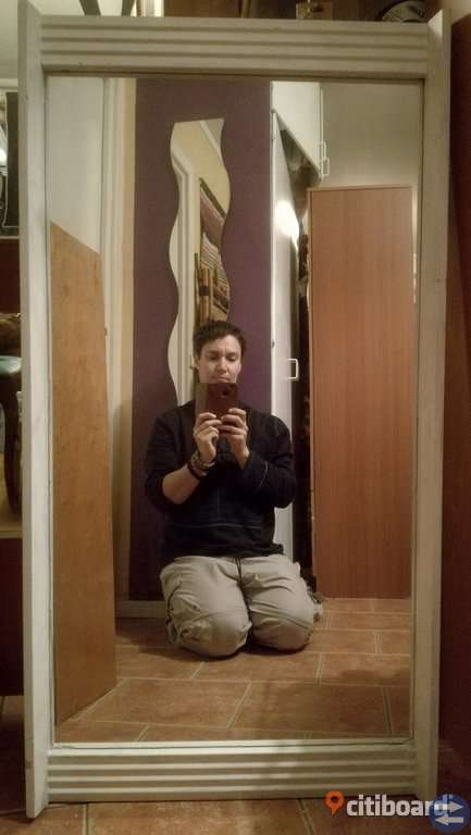 Vit spegel 60 x 116 cm, träram