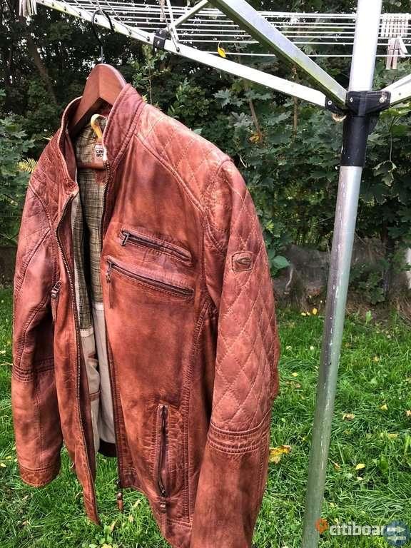 Camel vintage skinnjacka storlek L