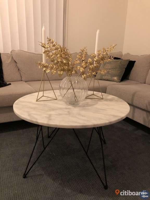 Livia soffbord i äkta marmor, 80 cm