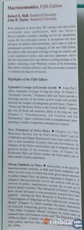 BOOK Macro Economics by Robert E. Hall and John B. Taylor. Fifth Edition. 150 SEK.