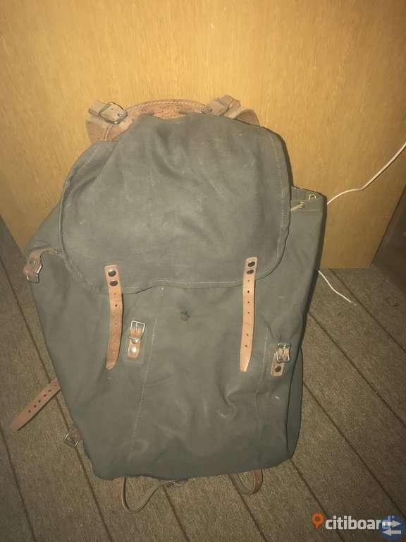 NY Militärryggsäck i läder och canvas 60 liter